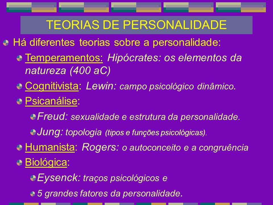 TEORIAS DE PERSONALIDADE Há diferentes teorias sobre a personalidade: Temperamentos: Hipócrates: os elementos da natureza (400 aC) Cognitivista: Lewin