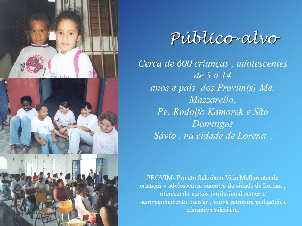 Público-alvo Cerca de 600 crianças, adolescentes de 3 a 14 anos e pais dos Provim(s) Me. Mazzarello, Pe. Rodolfo Komorek e São Domingos Sávio, na cida