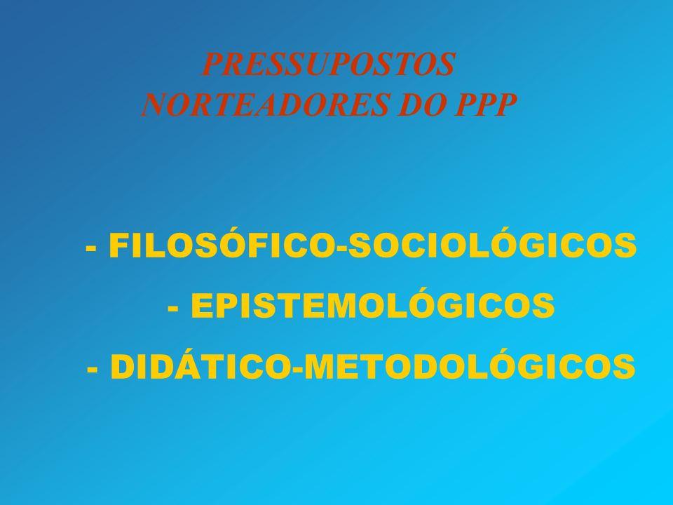 - - FILOSÓFICO-SOCIOLÓGICOS - EPISTEMOLÓGICOS - DIDÁTICO-METODOLÓGICOS PRESSUPOSTOS NORTEADORES DO PPP