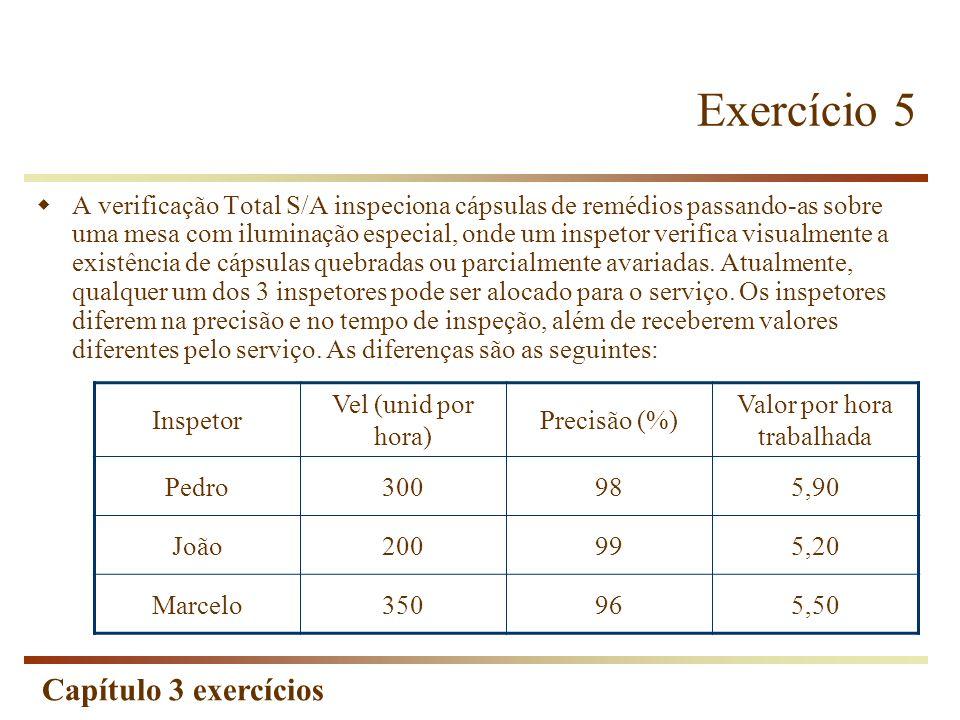 Capítulo 3 exercícios Exercício 5 A verificação Total S/A inspeciona cápsulas de remédios passando-as sobre uma mesa com iluminação especial, onde um
