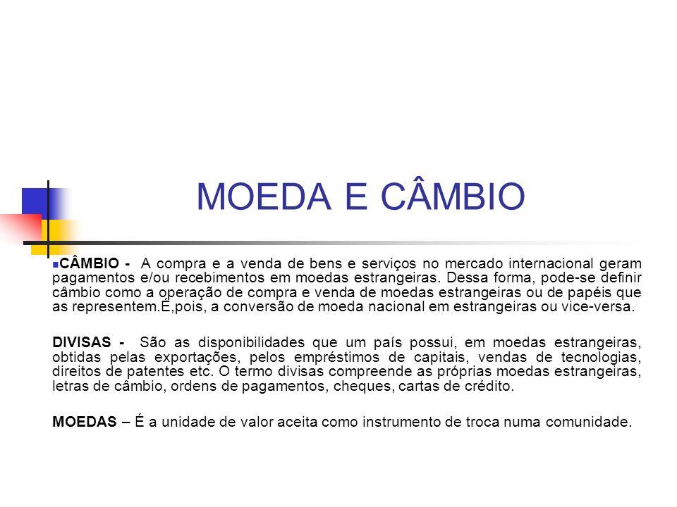 MOEDA E CÂMBIO CÂMBIO - A compra e a venda de bens e serviços no mercado internacional geram pagamentos e/ou recebimentos em moedas estrangeiras. Dess