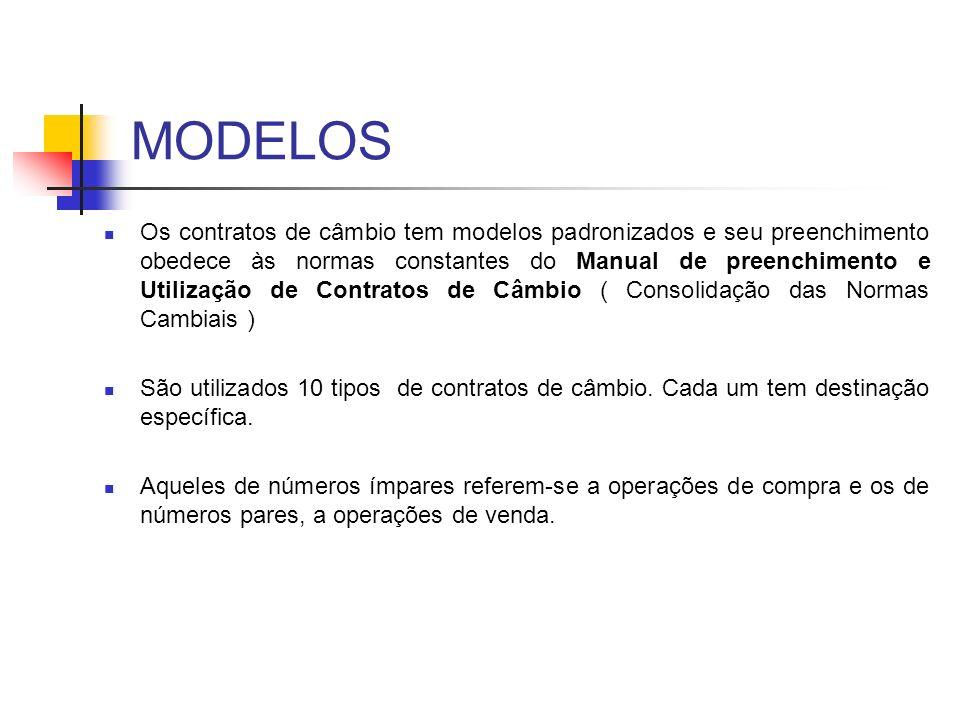 MODELOS Os contratos de câmbio tem modelos padronizados e seu preenchimento obedece às normas constantes do Manual de preenchimento e Utilização de Co