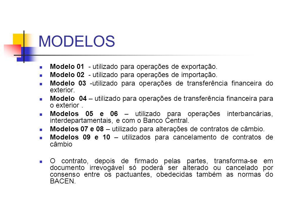 MODELOS Modelo 01 - utilizado para operações de exportação. Modelo 02 - utilizado para operações de importação. Modelo 03 -utilizado para operações de