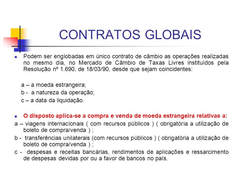 CONTRATOS GLOBAIS Podem ser englobadas em único contrato de câmbio as operações realizadas no mesmo dia, no Mercado de Câmbio de Taxas Livres instituí