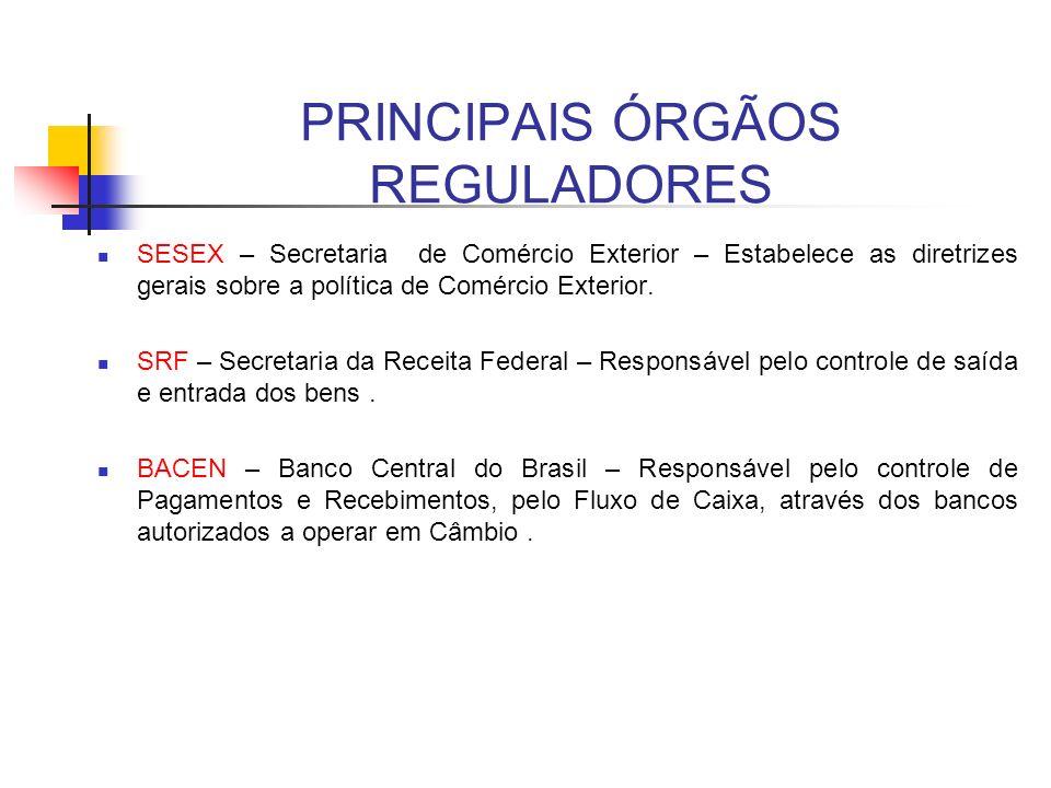 PRINCIPAIS ÓRGÃOS REGULADORES SESEX – Secretaria de Comércio Exterior – Estabelece as diretrizes gerais sobre a política de Comércio Exterior. SRF – S