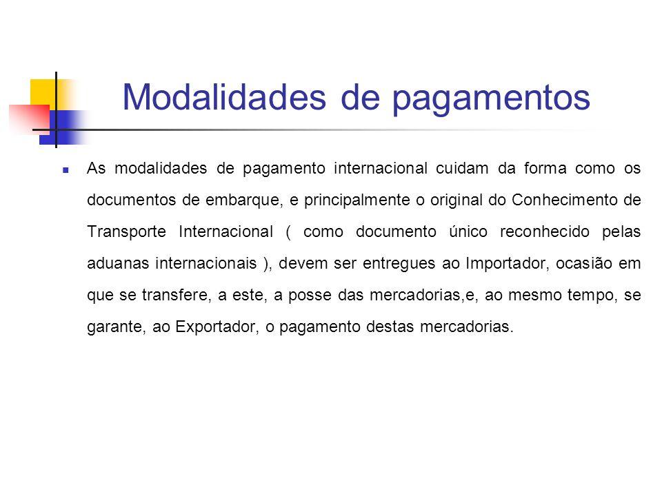 Modalidades de pagamentos As modalidades de pagamento internacional cuidam da forma como os documentos de embarque, e principalmente o original do Con