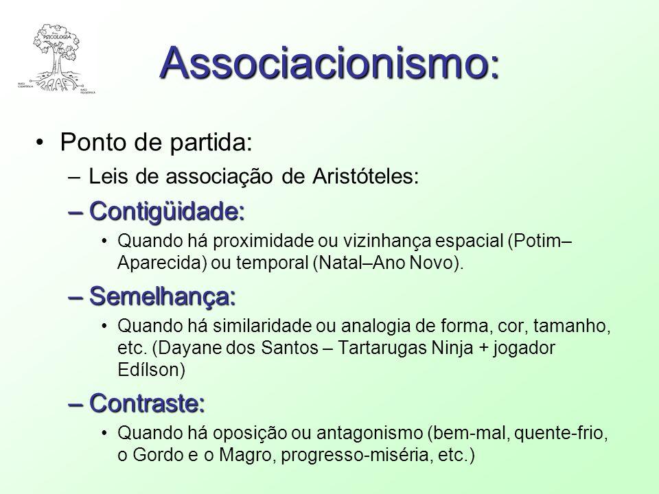 Associacionismo : Ponto de partida: –Leis de associação de Aristóteles: –Contigüidade: Quando há proximidade ou vizinhança espacial (Potim– Aparecida)