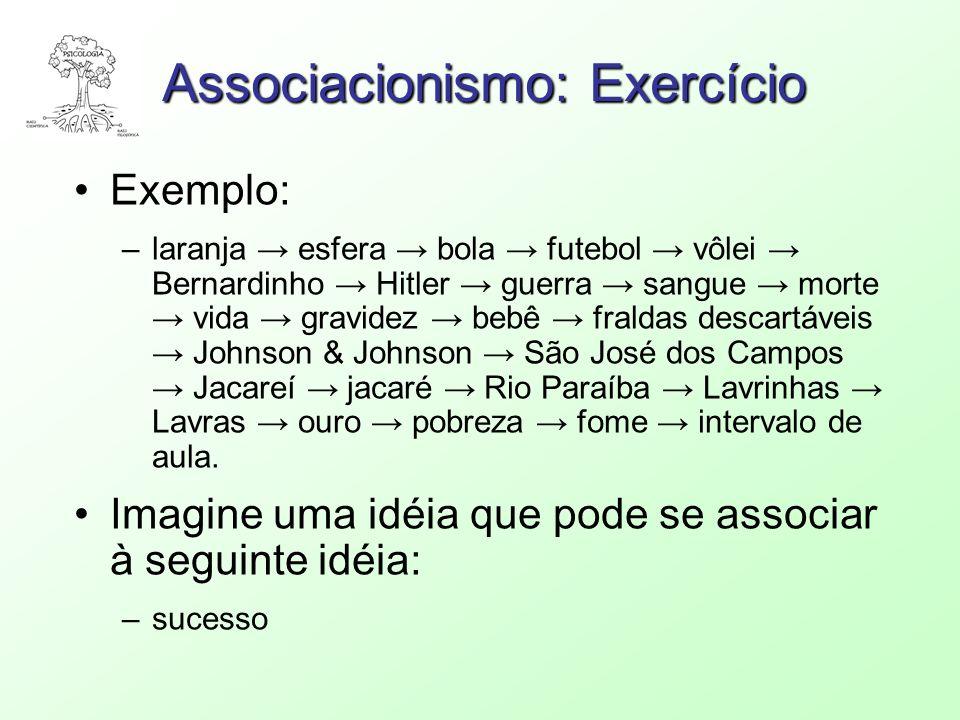 Associacionismo: Exercício Exemplo: –laranja esfera bola futebol vôlei Bernardinho Hitler guerra sangue morte vida gravidez bebê fraldas descartáveis