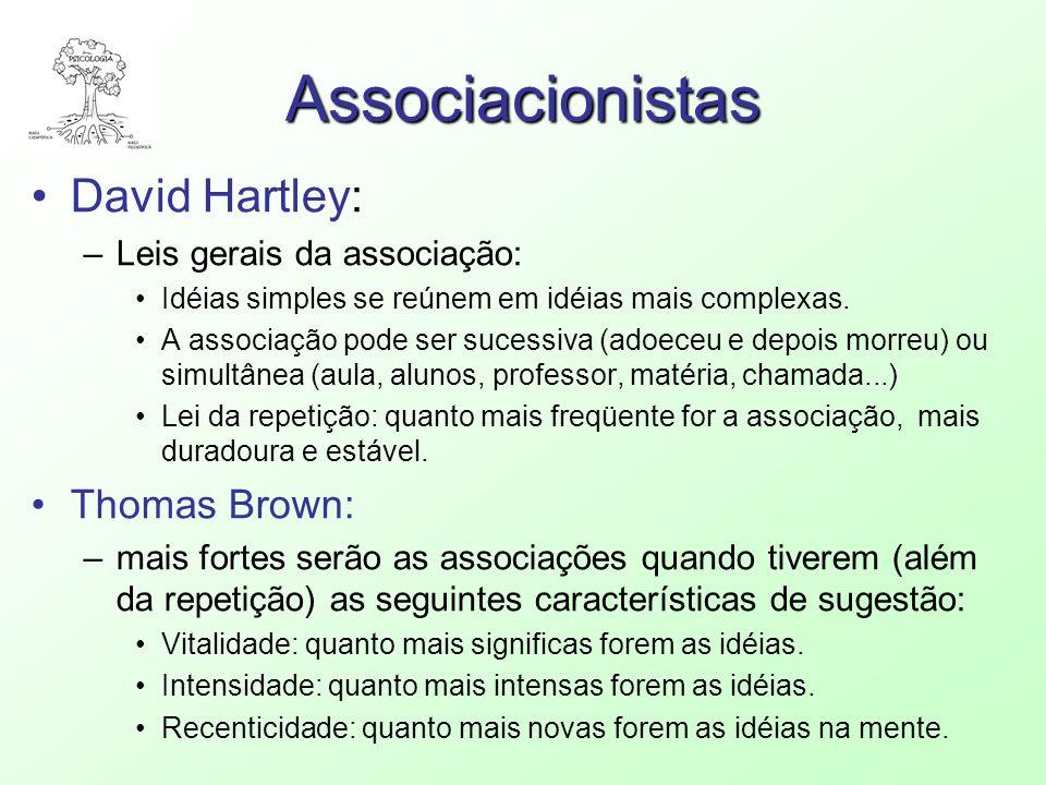 Associacionistas David Hartley: –Leis gerais da associação: Idéias simples se reúnem em idéias mais complexas. A associação pode ser sucessiva (adoece