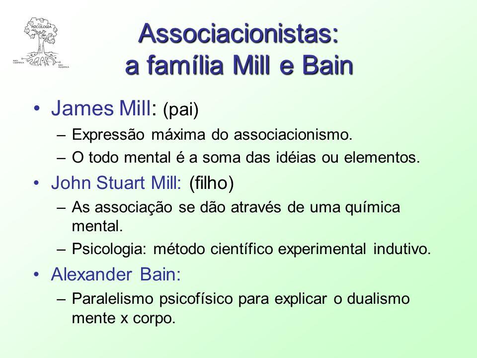 Associacionistas: a família Mill e Bain James Mill: (pai) –Expressão máxima do associacionismo. –O todo mental é a soma das idéias ou elementos. John