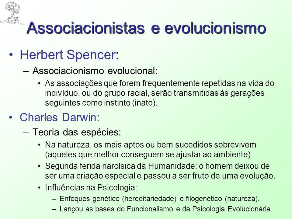 Associacionistas e evolucionismo Herbert Spencer: –Associacionismo evolucional: As associações que forem freqüentemente repetidas na vida do indivíduo