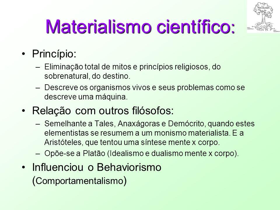 Materialismo científico : Princípio: –Eliminação total de mitos e princípios religiosos, do sobrenatural, do destino. –Descreve os organismos vivos e