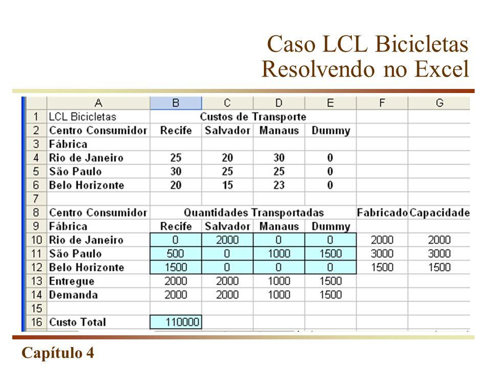 Capítulo 4 Caso LCL Bicicletas Resolvendo no Excel
