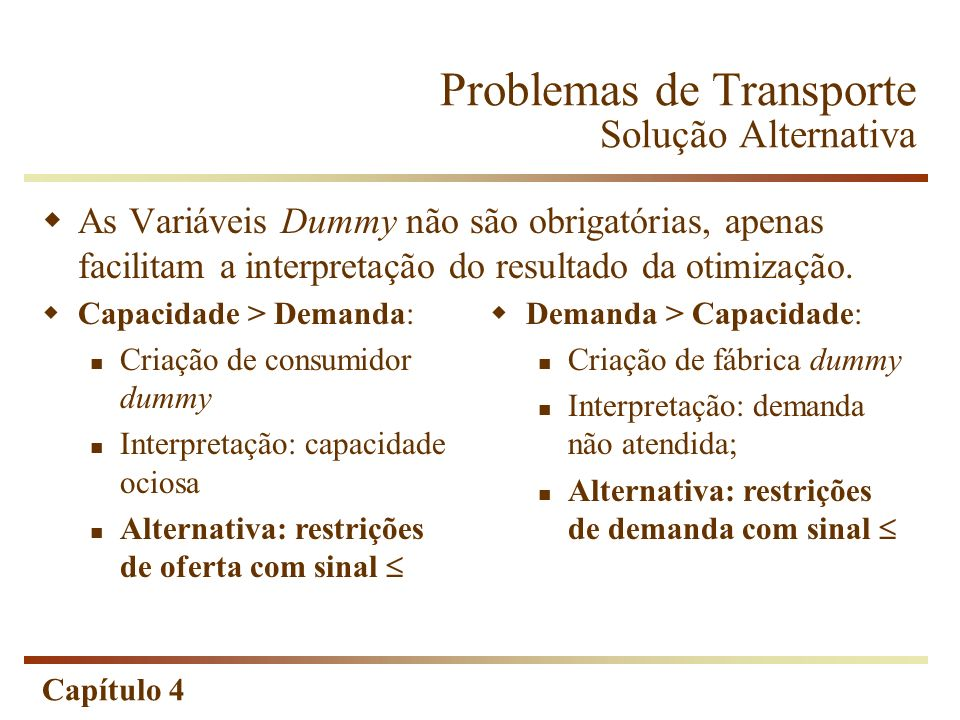 Capítulo 4 Problemas de Transporte Solução Alternativa As Variáveis Dummy não são obrigatórias, apenas facilitam a interpretação do resultado da otimização.