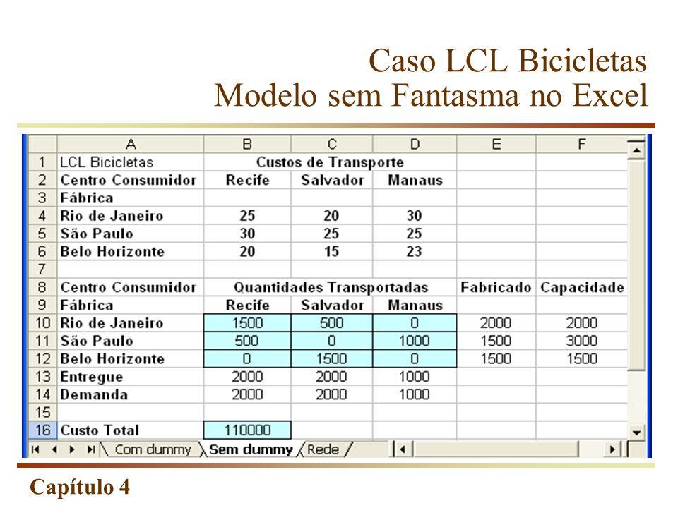 Capítulo 4 Caso LCL Bicicletas Modelo sem Fantasma no Excel