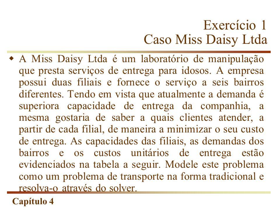 Capítulo 4 Exercício 1 Caso Miss Daisy Ltda A Miss Daisy Ltda é um laboratório de manipulação que presta serviços de entrega para idosos.