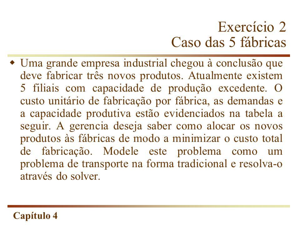 Capítulo 4 Exercício 2 Caso das 5 fábricas Uma grande empresa industrial chegou à conclusão que deve fabricar três novos produtos.