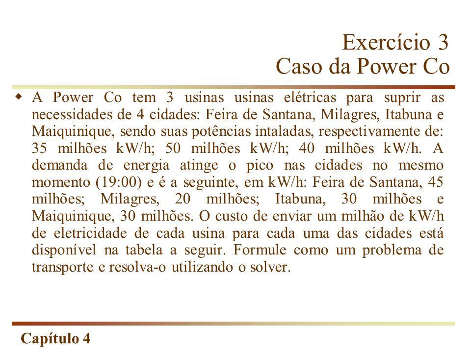 Capítulo 4 Exercício 3 Caso da Power Co A Power Co tem 3 usinas usinas elétricas para suprir as necessidades de 4 cidades: Feira de Santana, Milagres, Itabuna e Maiquinique, sendo suas potências intaladas, respectivamente de: 35 milhões kW/h; 50 milhões kW/h; 40 milhões kW/h.