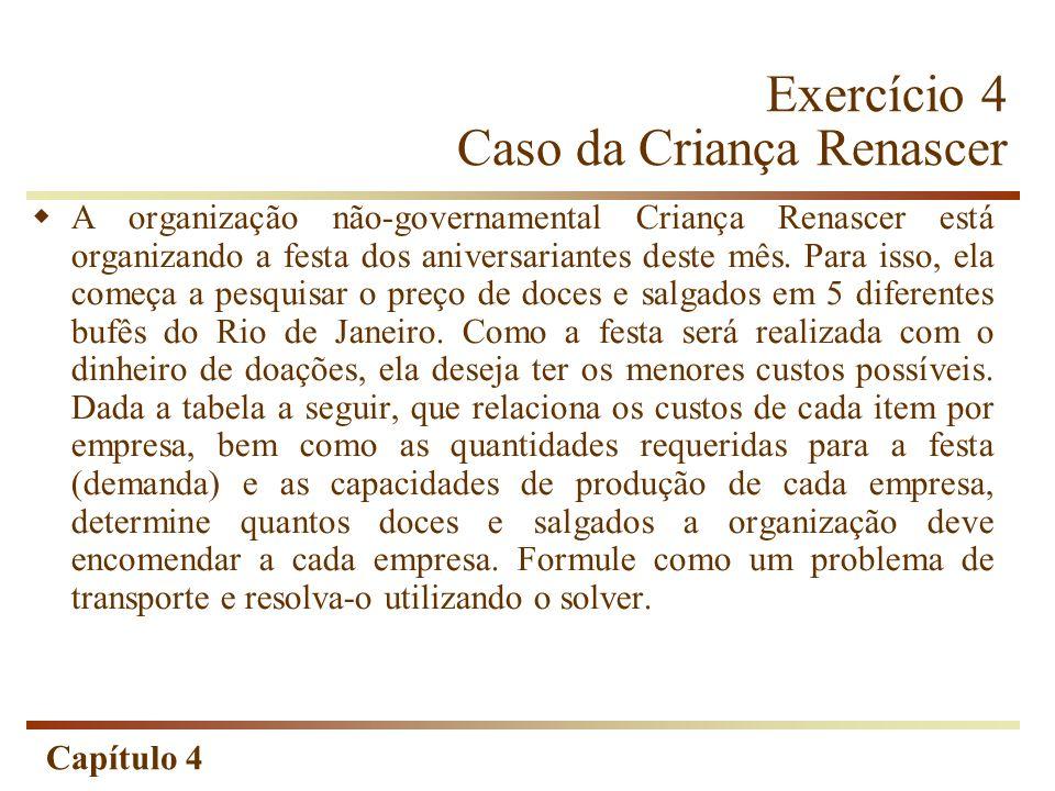 Capítulo 4 Exercício 4 Caso da Criança Renascer A organização não-governamental Criança Renascer está organizando a festa dos aniversariantes deste mês.