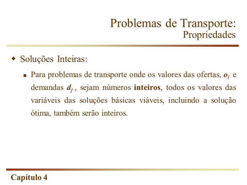 Capítulo 4 Problemas de Transporte: Propriedades Soluções Inteiras: Para problemas de transporte onde os valores das ofertas, o i e demandas d j, sejam números inteiros, todos os valores das variáveis das soluções básicas viáveis, incluindo a solução ótima, também serão inteiros.