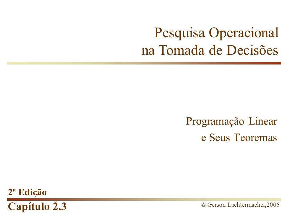 Capítulo 2.3 Pesquisa Operacional na Tomada de Decisões 2ª Edição © Gerson Lachtermacher,2005 Programação Linear e Seus Teoremas