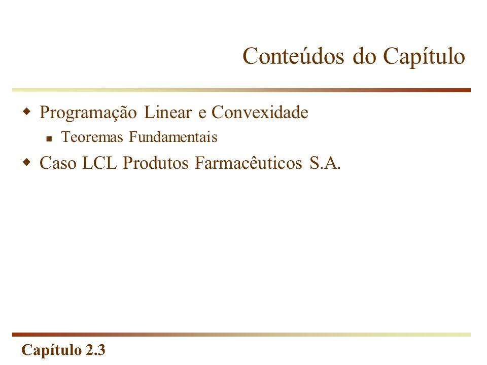 Capítulo 2.3 Conteúdos do Capítulo Programação Linear e Convexidade Teoremas Fundamentais Caso LCL Produtos Farmacêuticos S.A.