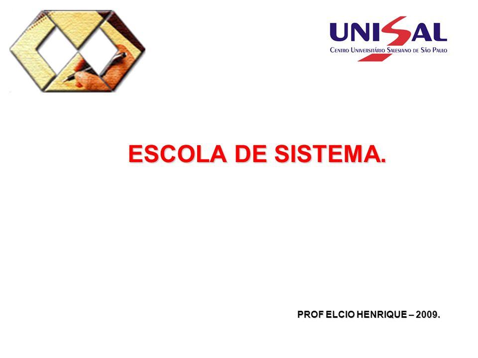 ESCOLA DE SISTEMA. ESCOLA DE SISTEMA. PROF ELCIO HENRIQUE – 2009.