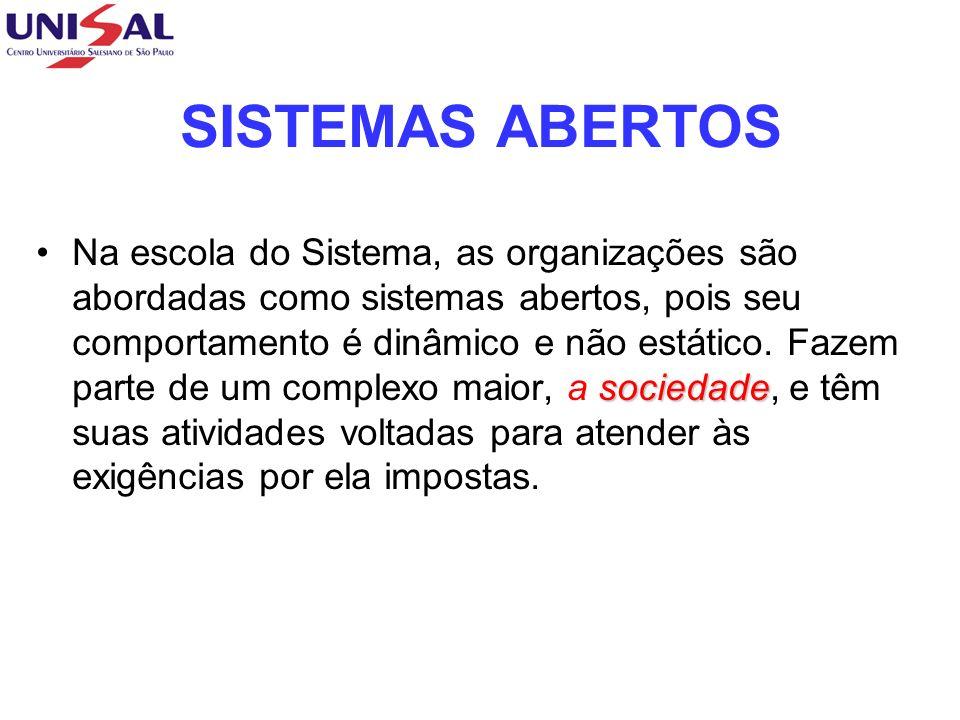 SISTEMAS ABERTOS sociedadeNa escola do Sistema, as organizações são abordadas como sistemas abertos, pois seu comportamento é dinâmico e não estático.