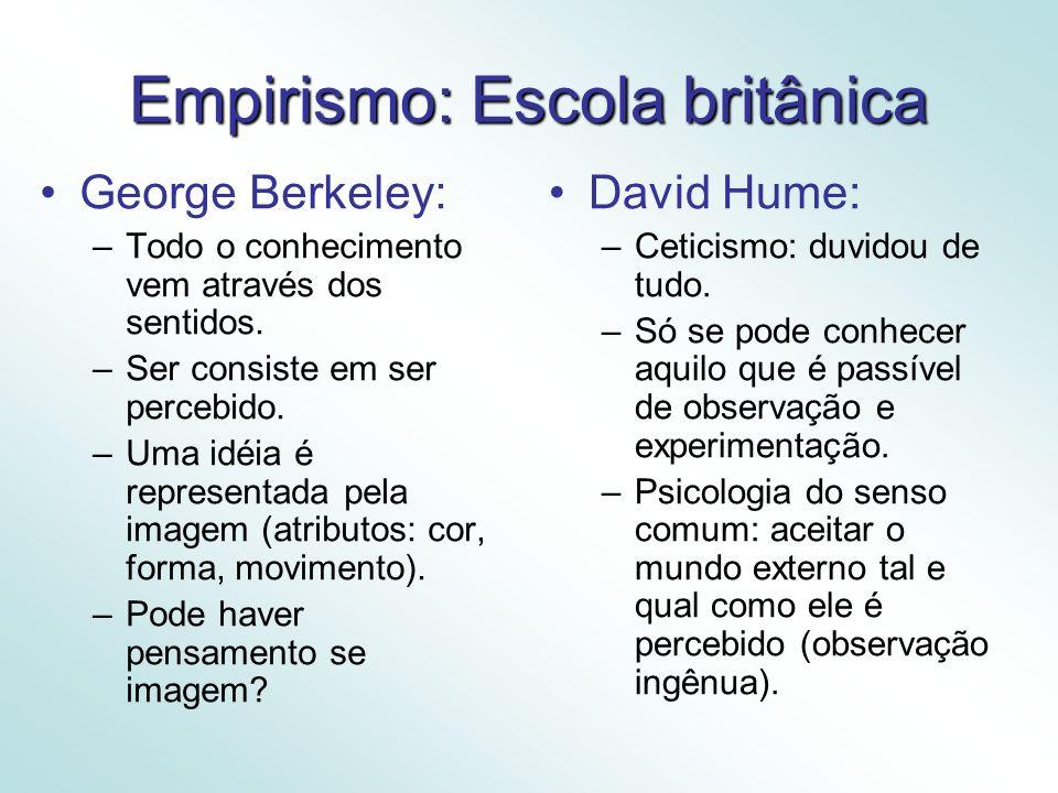 Empirismo: Escola britânica George Berkeley: –Todo o conhecimento vem através dos sentidos.