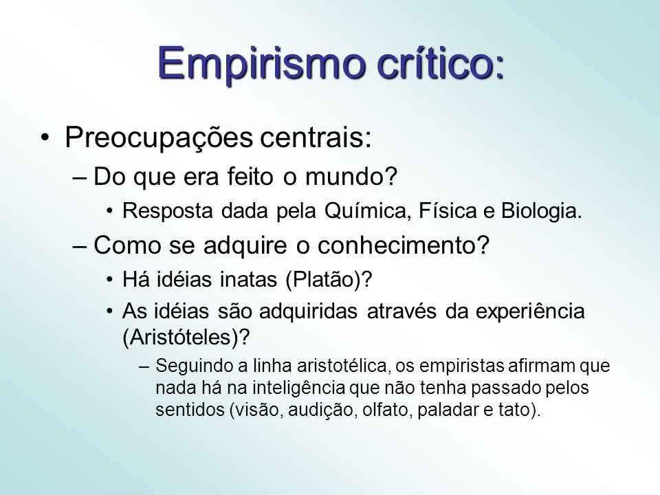 Empirismo crítico : Preocupações centrais: –Do que era feito o mundo.