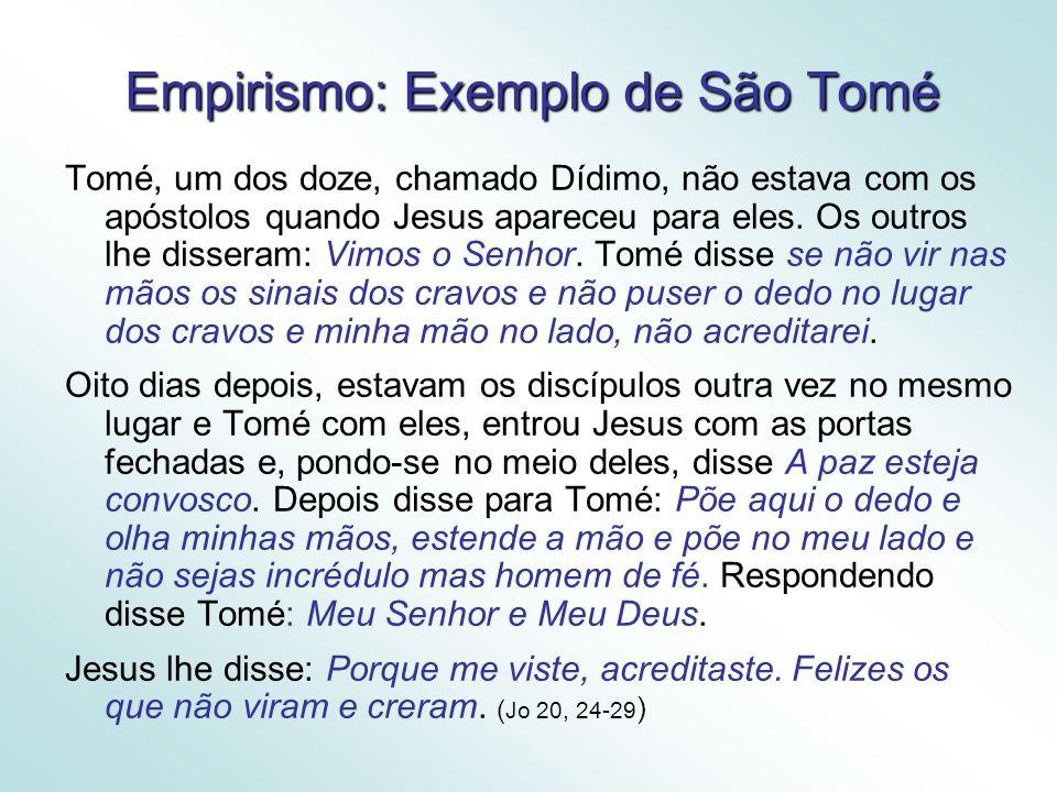 Empirismo: Exemplo de São Tomé Tomé, um dos doze, chamado Dídimo, não estava com os apóstolos quando Jesus apareceu para eles.