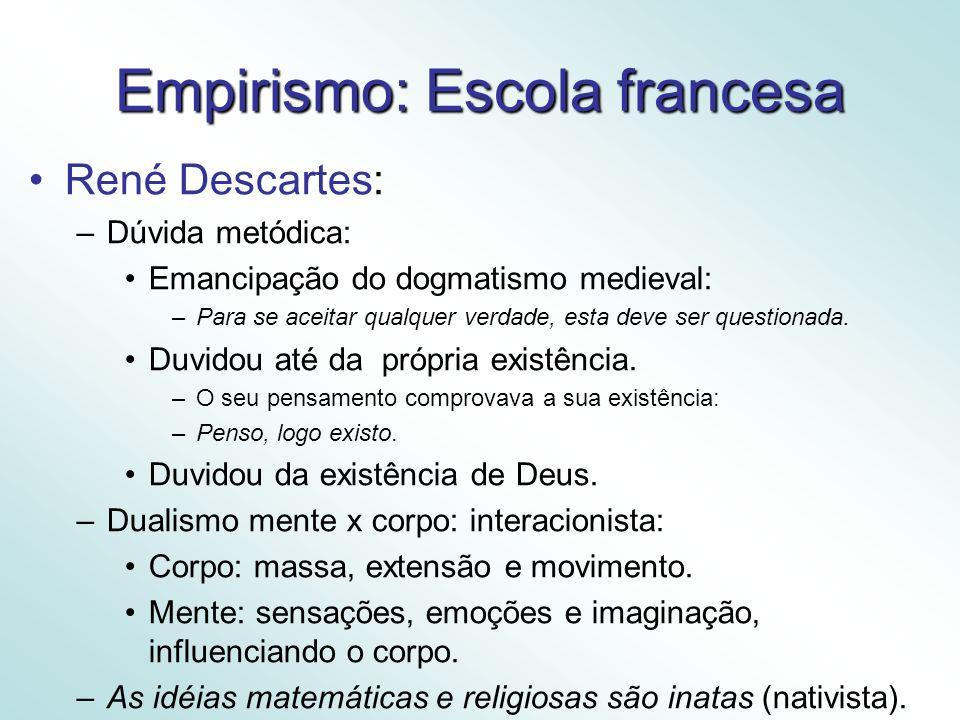 Empirismo: Escola francesa René Descartes: –Dúvida metódica: Emancipação do dogmatismo medieval: –Para se aceitar qualquer verdade, esta deve ser questionada.