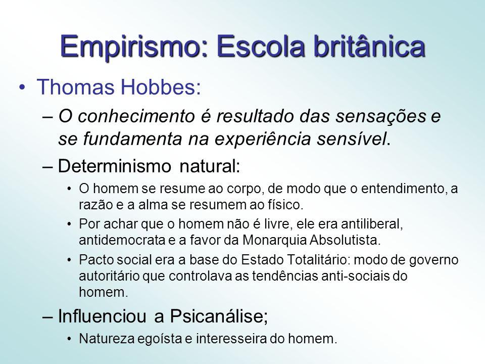 Empirismo: Escola britânica Thomas Hobbes: –O conhecimento é resultado das sensações e se fundamenta na experiência sensível.
