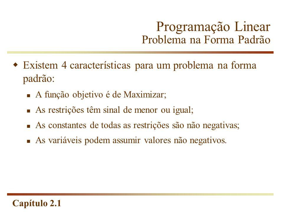 Capítulo 2.1 Programação Linear Problema na Forma Padrão Existem 4 características para um problema na forma padrão: A função objetivo é de Maximizar;