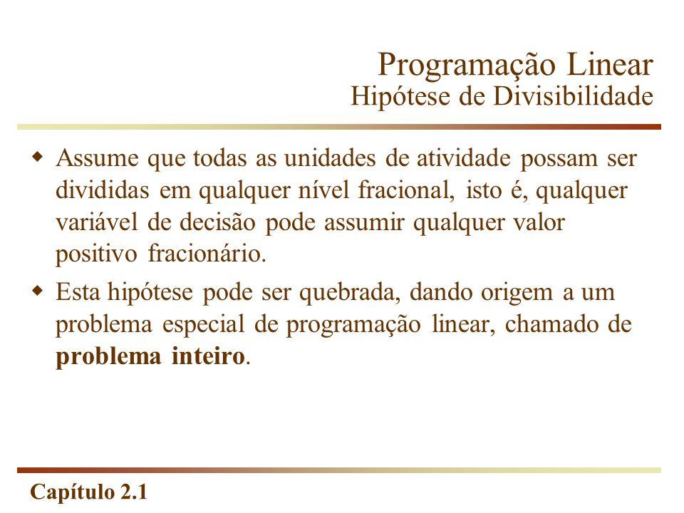 Capítulo 2.1 Programação Linear Hipótese de Divisibilidade Assume que todas as unidades de atividade possam ser divididas em qualquer nível fracional,