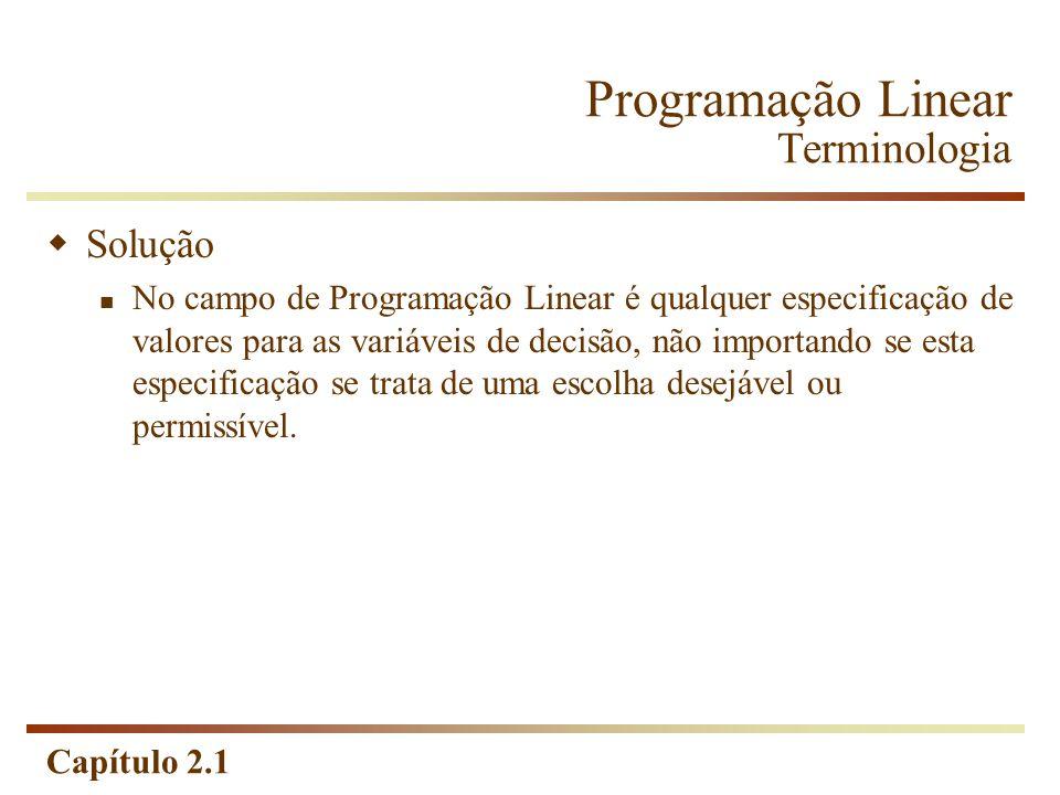 Capítulo 2.1 Programação Linear Terminologia Solução No campo de Programação Linear é qualquer especificação de valores para as variáveis de decisão,