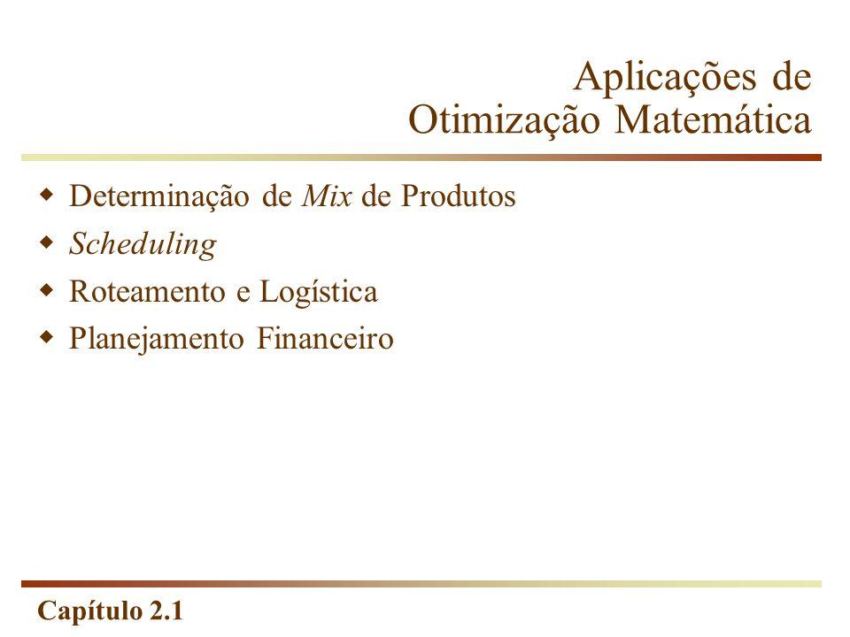Capítulo 2.1 Programação Matemática Um problema de programação matemática é um problema de otimização no qual o objetivo e as restrições são expressos como funções matemáticas e relações funcionais