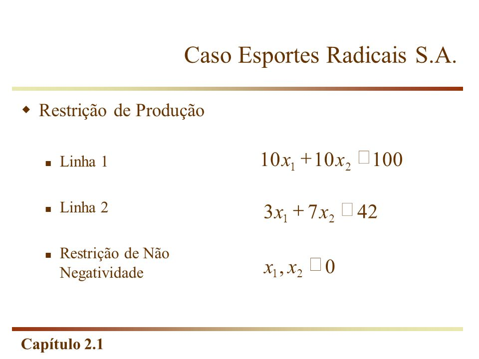 Capítulo 2.1 Caso Esportes Radicais S.A. Restrição de Produção Linha 1 Linha 2 Restrição de Não Negatividade 10010 21 xx4273 21 xx0, 21 xx