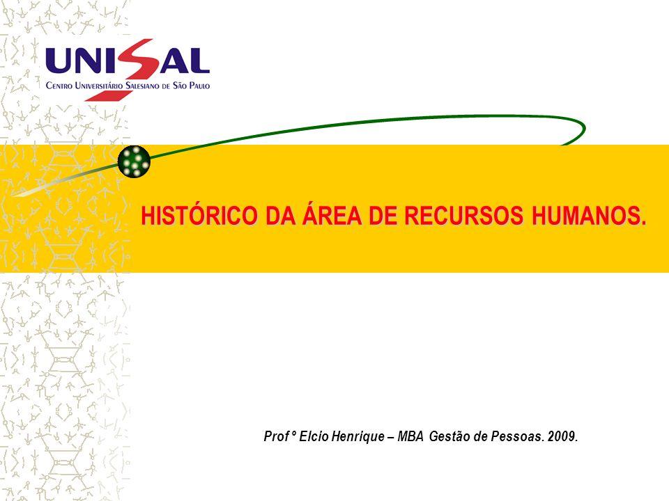 HISTÓRICO DA ÁREA DE RECURSOS HUMANOS. Prof º Elcio Henrique – MBA Gestão de Pessoas. 2009.