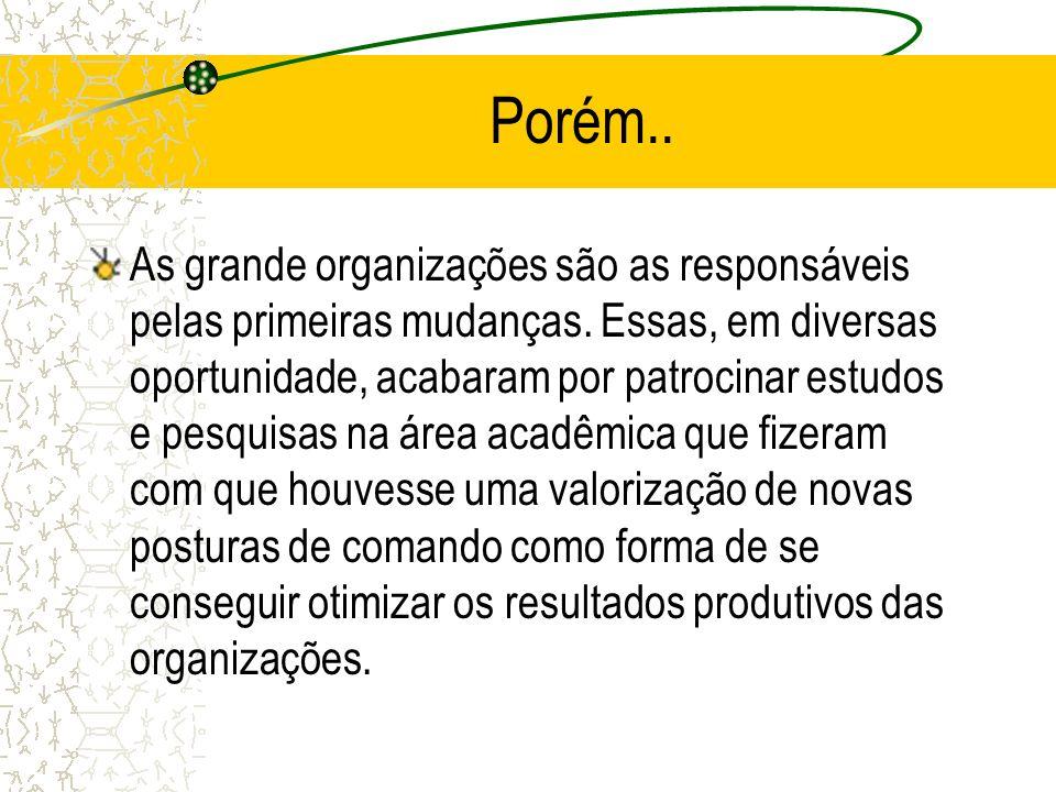 Porém.. As grande organizações são as responsáveis pelas primeiras mudanças. Essas, em diversas oportunidade, acabaram por patrocinar estudos e pesqui
