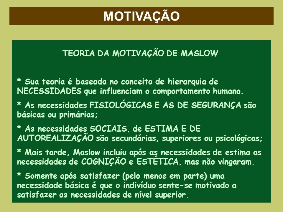 MOTIVAÇÃO TEORIA DA MOTIVAÇÃO DE MASLOW * Sua teoria é baseada no conceito de hierarquia de NECESSIDADES que influenciam o comportamento humano. * As
