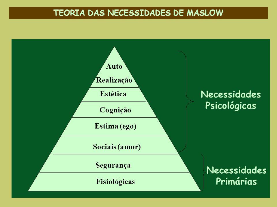 TEORIA DAS NECESSIDADES DE MASLOW Necessidades Psicológicas Auto Realização Estética Cognição Estima (ego) Sociais (amor) Segurança Fisiológicas Neces