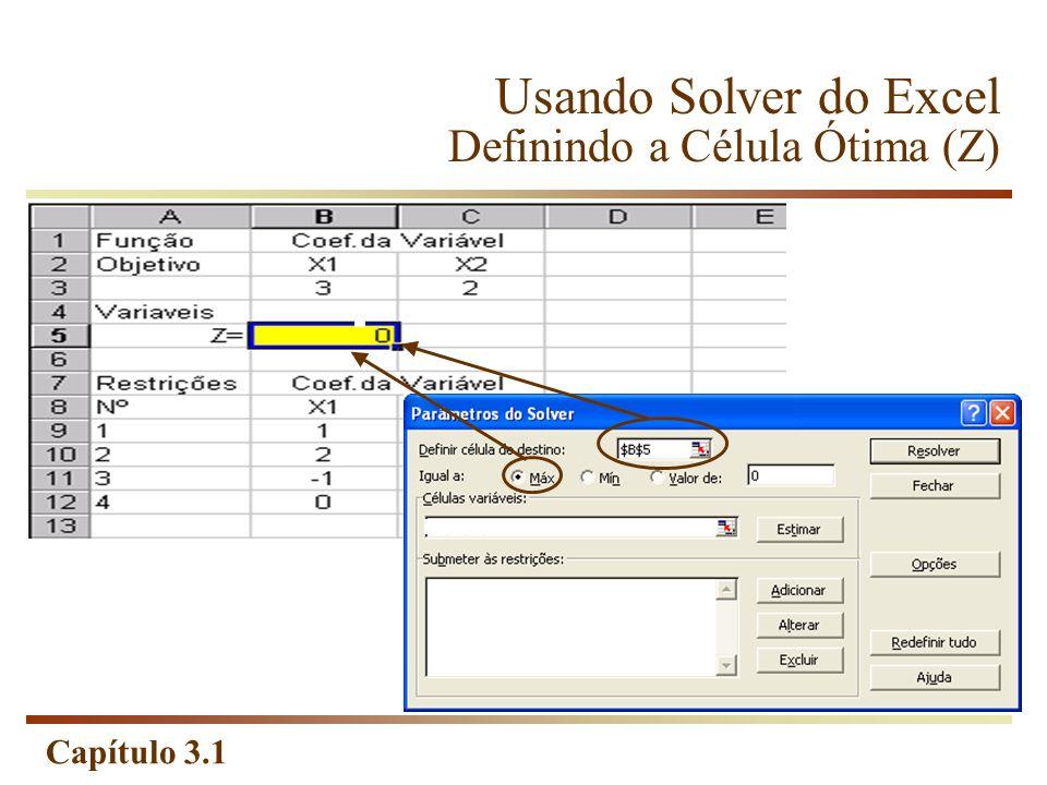 Capítulo 3.1 Usando Solver do Excel Definindo a Célula Ótima (Z)