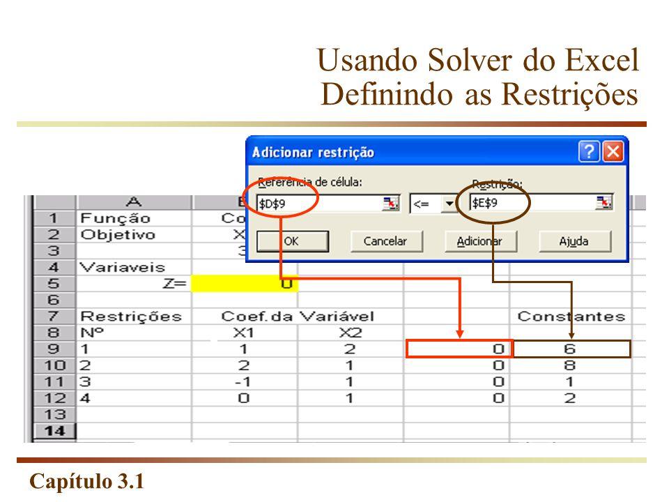 Capítulo 3.1 Usando Solver do Excel Definindo as Restrições
