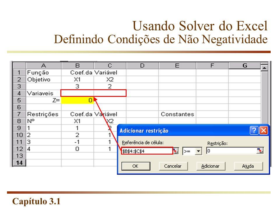 Capítulo 3.1 Usando Solver do Excel Definindo Condições de Não Negatividade