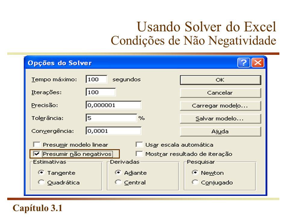 Capítulo 3.1 Usando Solver do Excel Condições de Não Negatividade