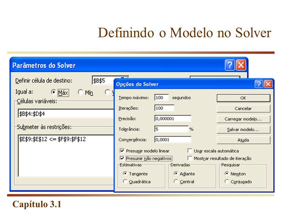 Capítulo 3.1 Definindo o Modelo no Solver