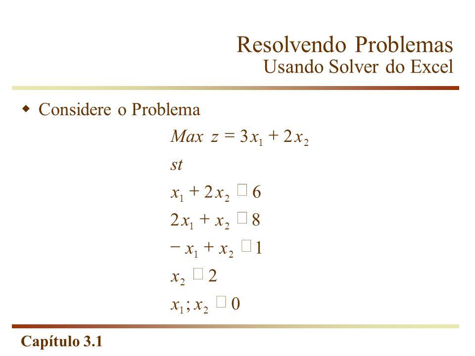 Capítulo 3.1 Resolvendo Problemas Usando Solver do Excel Considere o Problema 0; 2 1 82 62 23 21 2 21 21 21 21 xx x xx xx xx st xxzMax