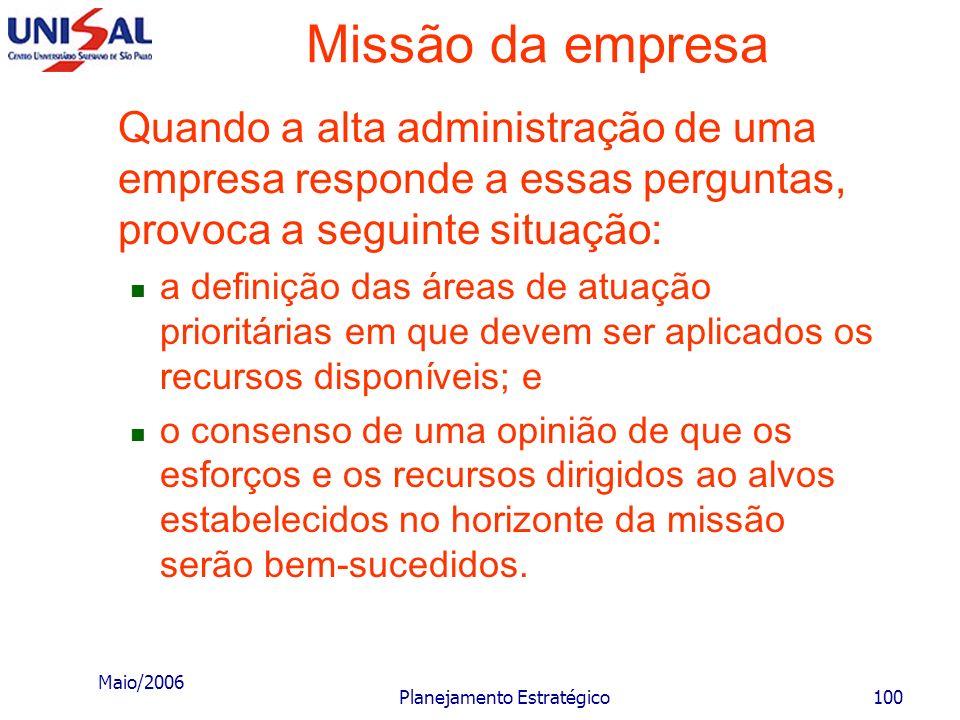Maio/2006 Planejamento Estratégico99 Missão da empresa O estabelecimento da missão tem como ponto de partida a análise e interpretação de algumas ques