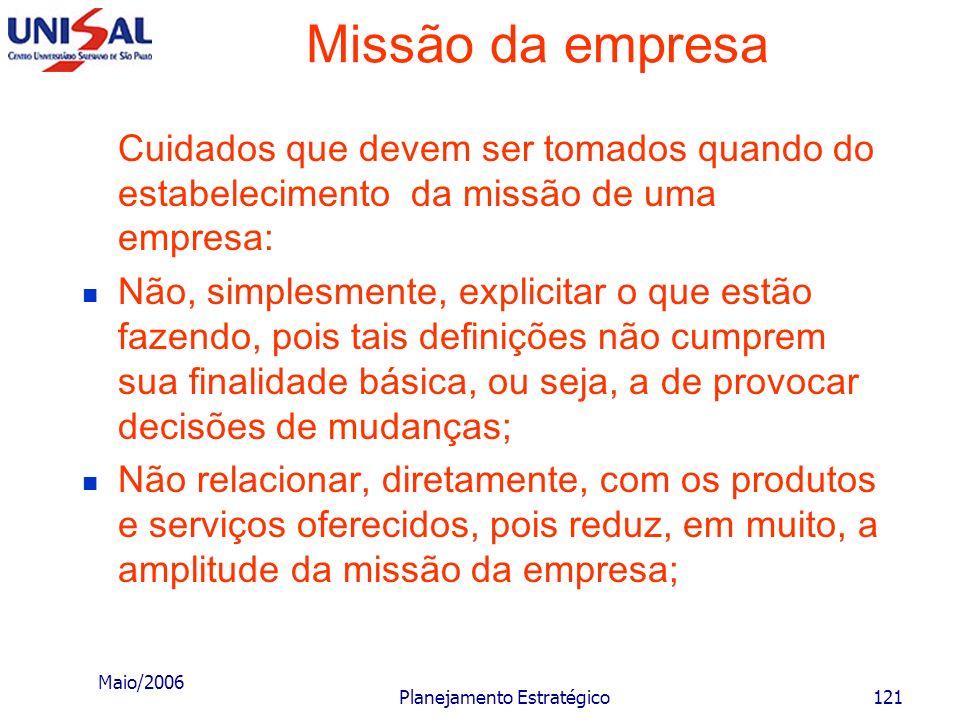 Maio/2006 Planejamento Estratégico120 Missão da empresa É este conceito de missão que permitirá: a uma ferrovia (trens) ganhar dinheiro com oleodutos;